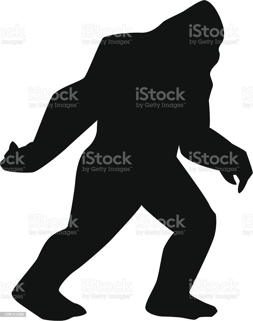 Sasquatch silhouette vector art illustration