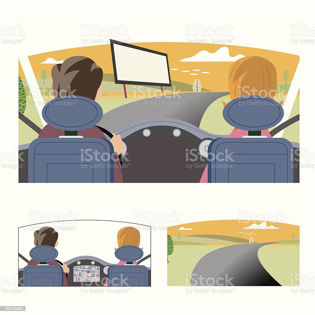 Sat Nav Driving Couple. royalty-free stock vector art