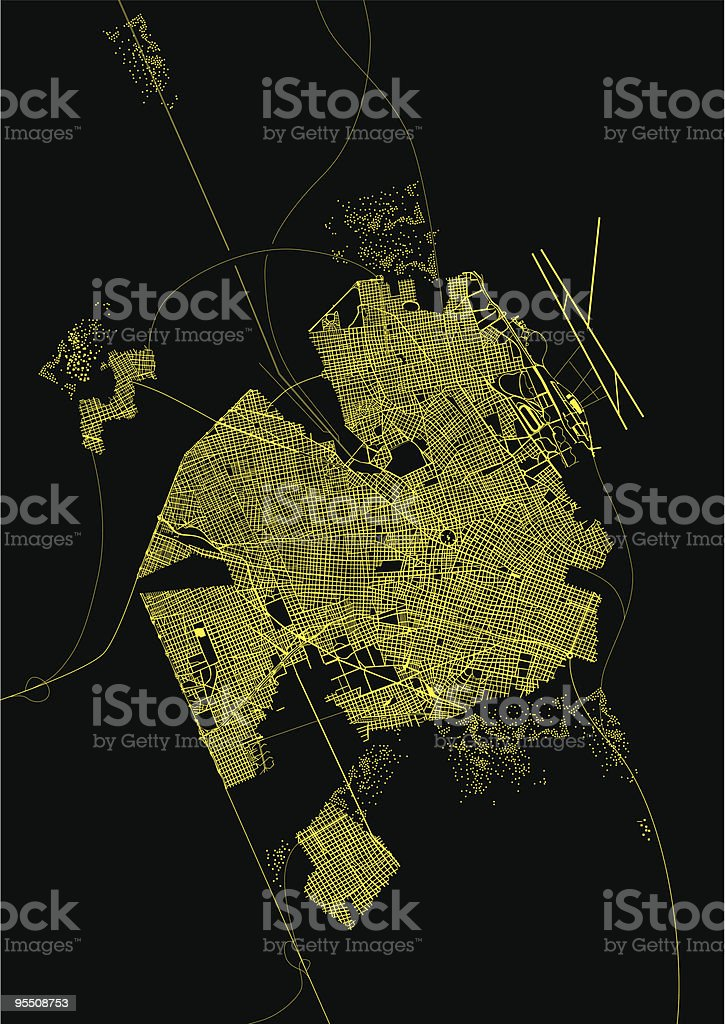 Satelital image of a city at night vector art illustration