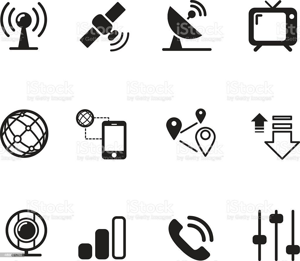 Satelite communication technology silhouette icons vector art illustration
