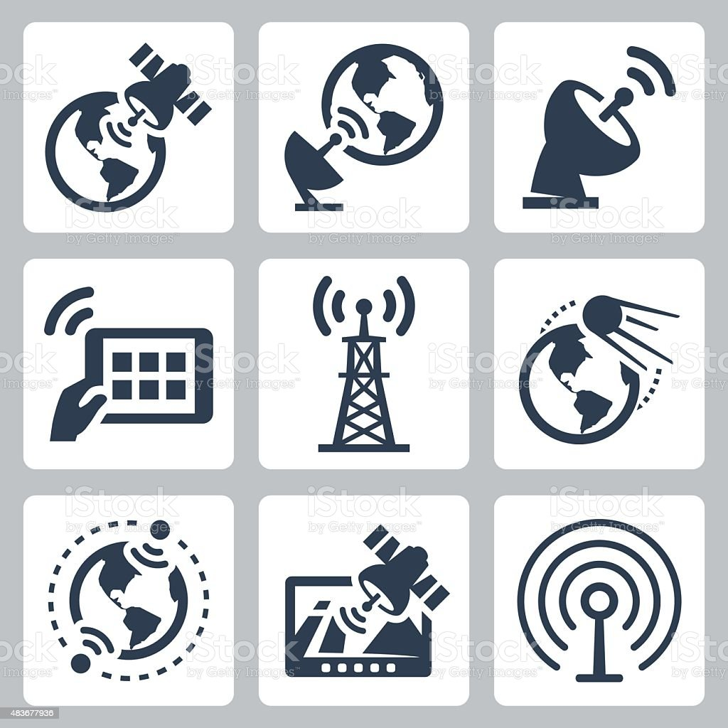 Satellite and navigation related vector icons set vector art illustration