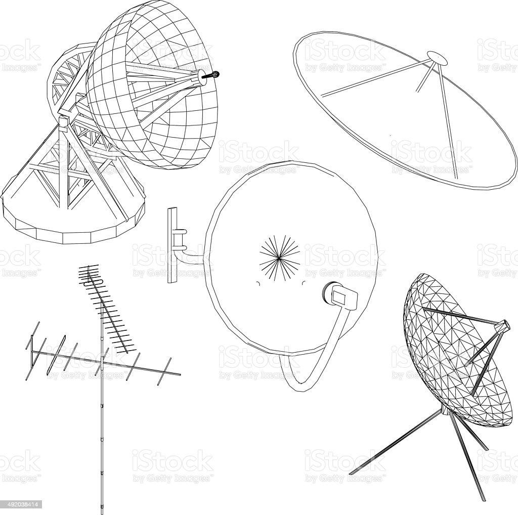 satellite antenna vector art illustration