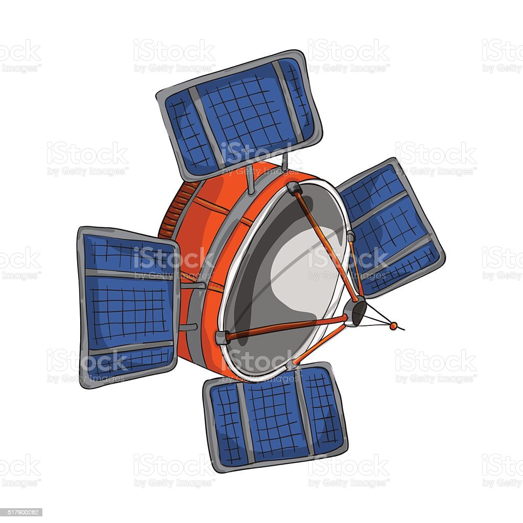 Satellite cartoon stile vector art illustration