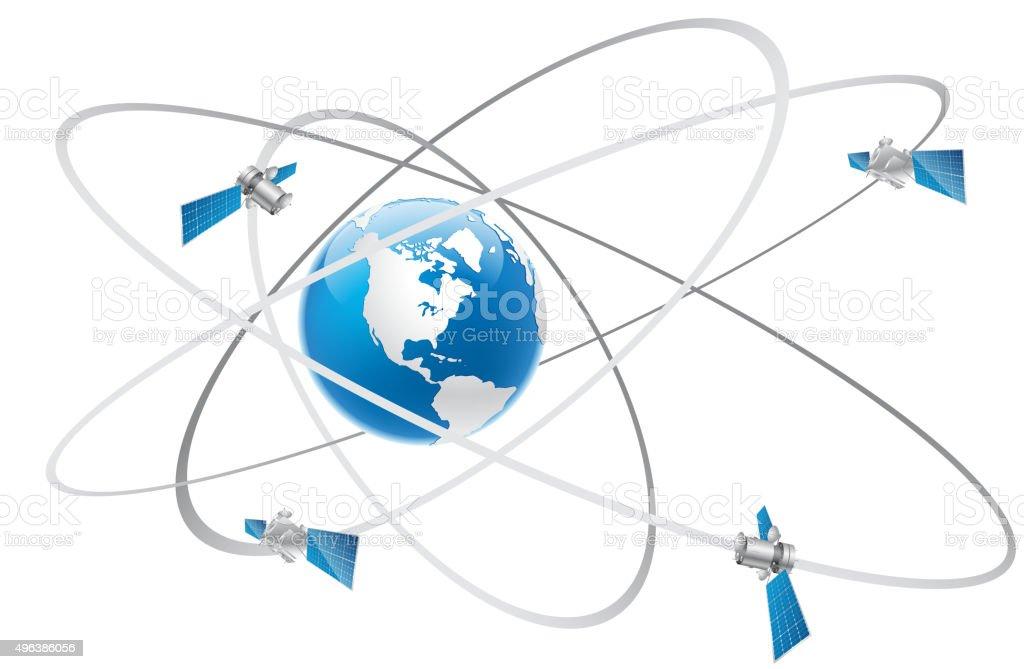 Satellite communication vector art illustration