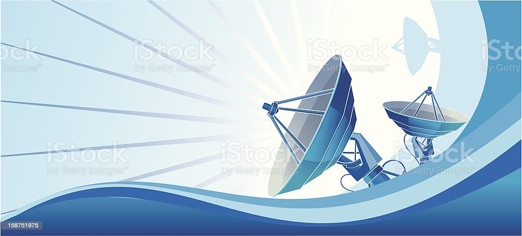 Satellite dish blue royalty-free stock vector art
