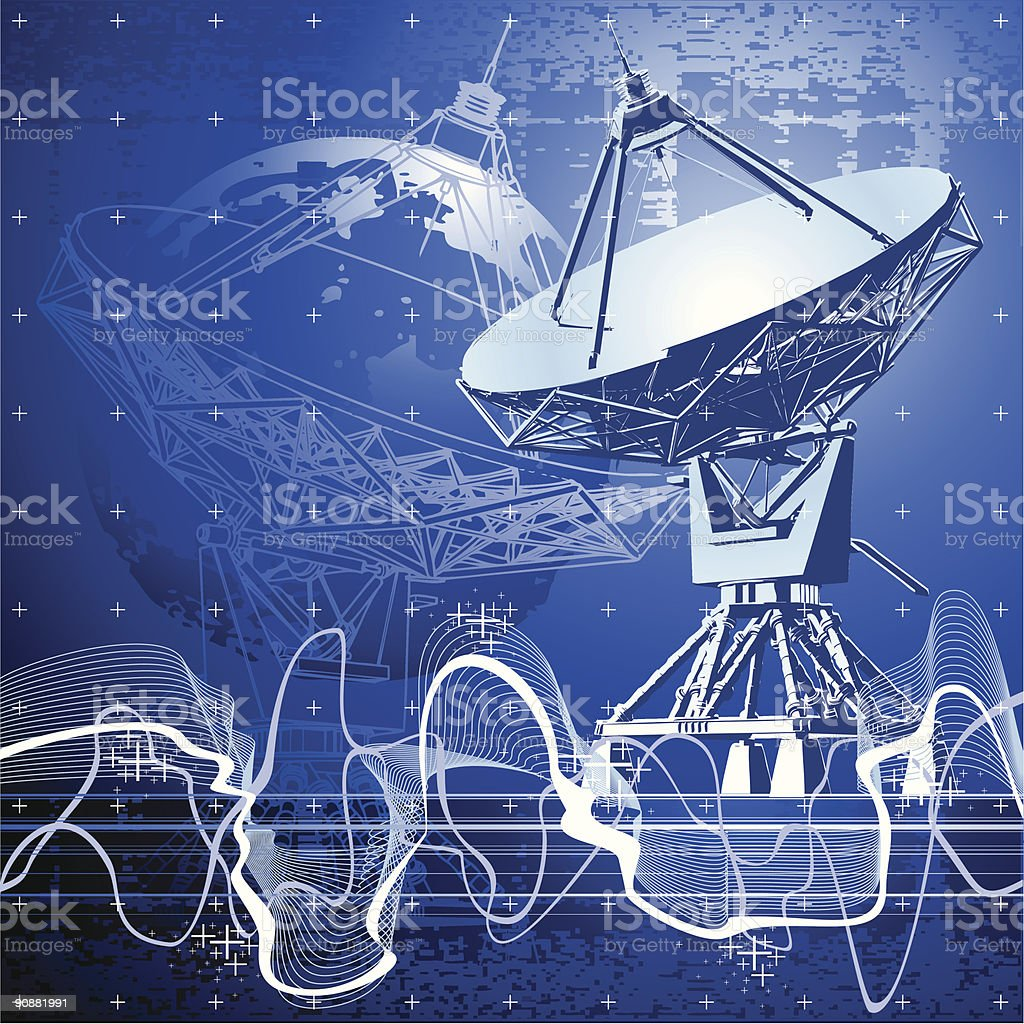 satellite dishes antenna (doppler radar) royalty-free stock vector art