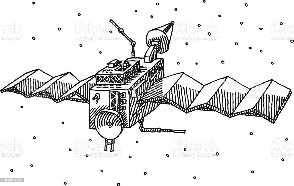 Satellite Drawing royalty-free stock vector art