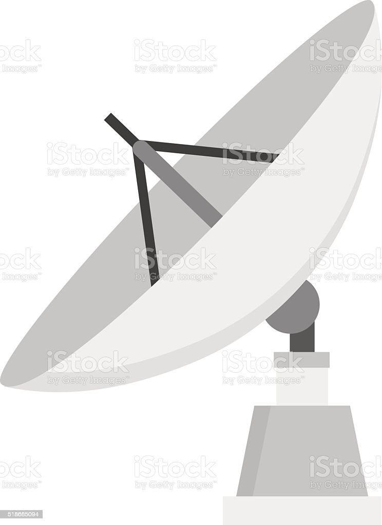 Satellite icon technology wireless space radio signal flat vector illustration vector art illustration