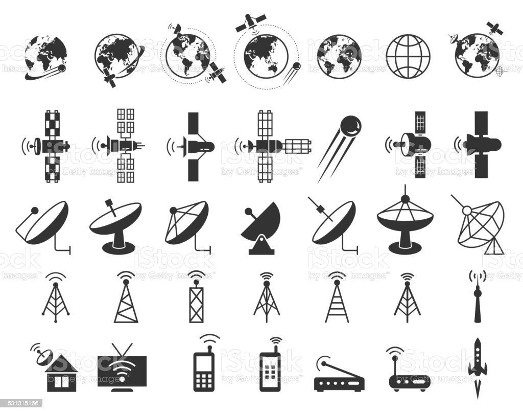Satellite icons vector vector art illustration