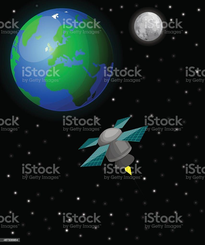 Satellite dans l'espace stock vecteur libres de droits libre de droits