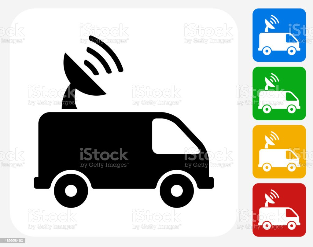 Satellite Truck Icon Flat Graphic Design vector art illustration