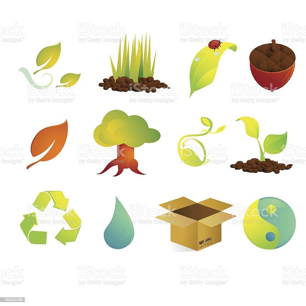 Satin Environment and Nature Icons royalty-free stock vector art