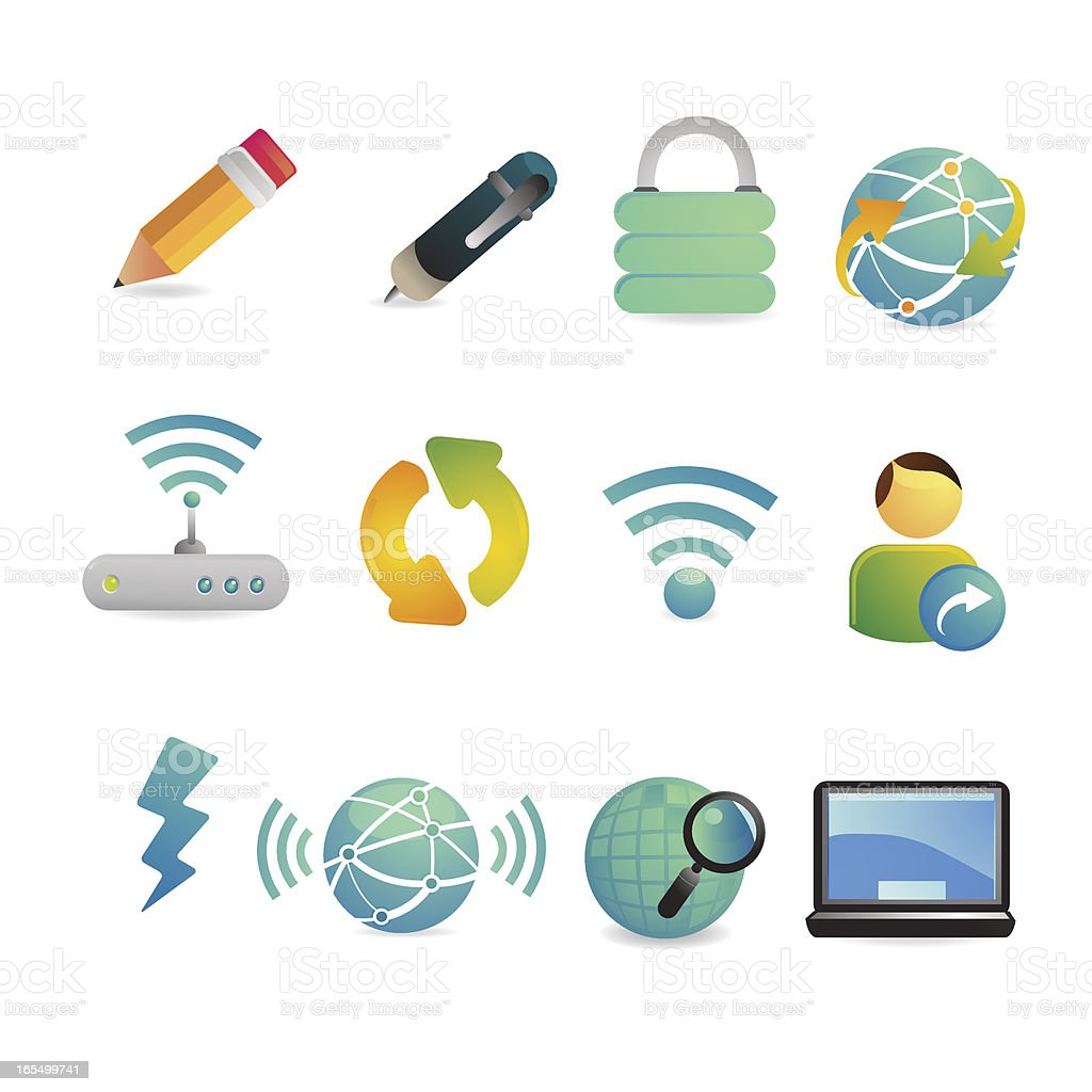 Satin Global Communication and Internet Icons royalty-free stock vector art
