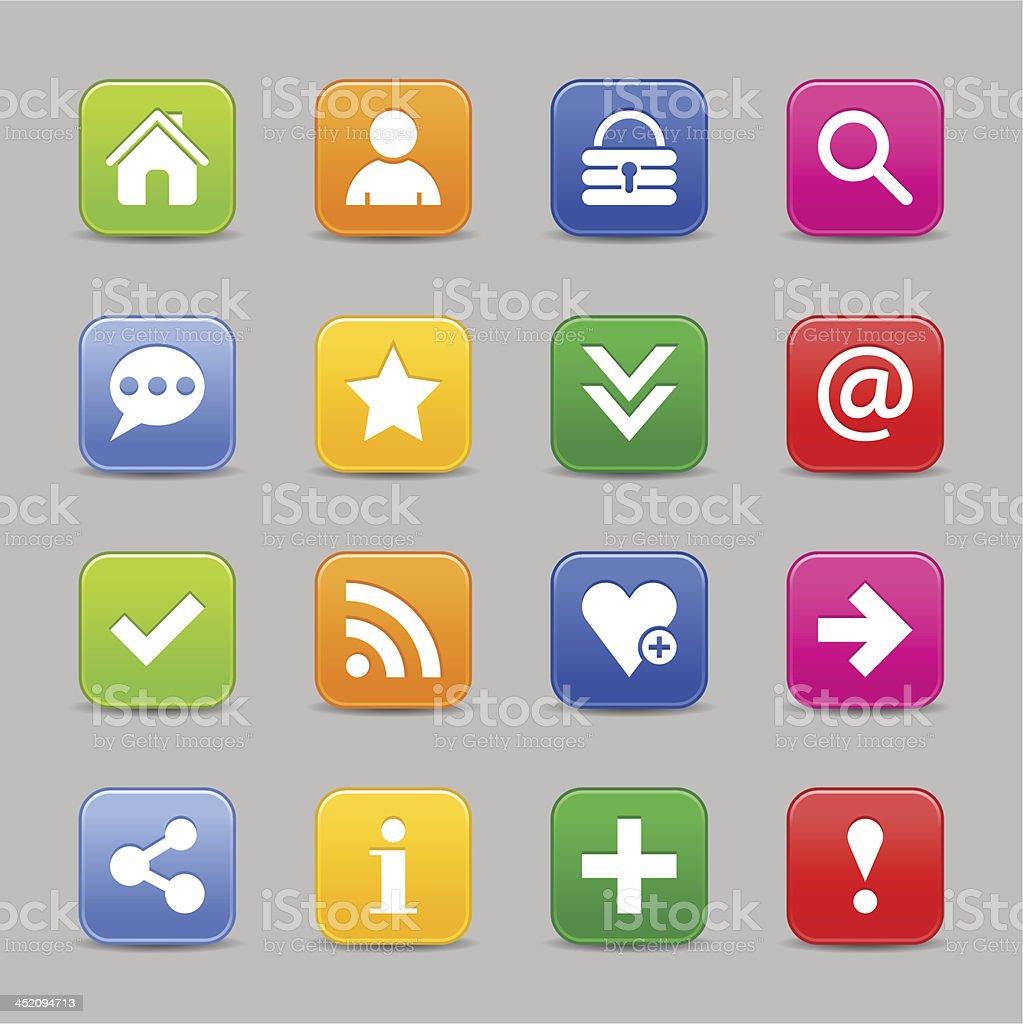 Satin icon basic sign square web internet button white pictogram royalty-free stock vector art