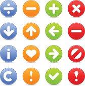 Satin icon set web internet circle button basic pictogram