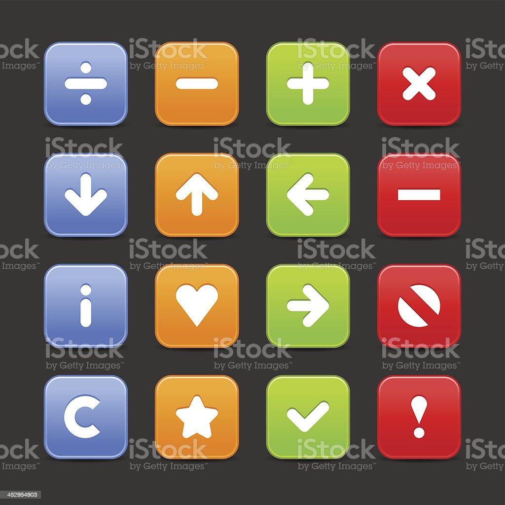 Satin icon set white sign web internet square button vector art illustration