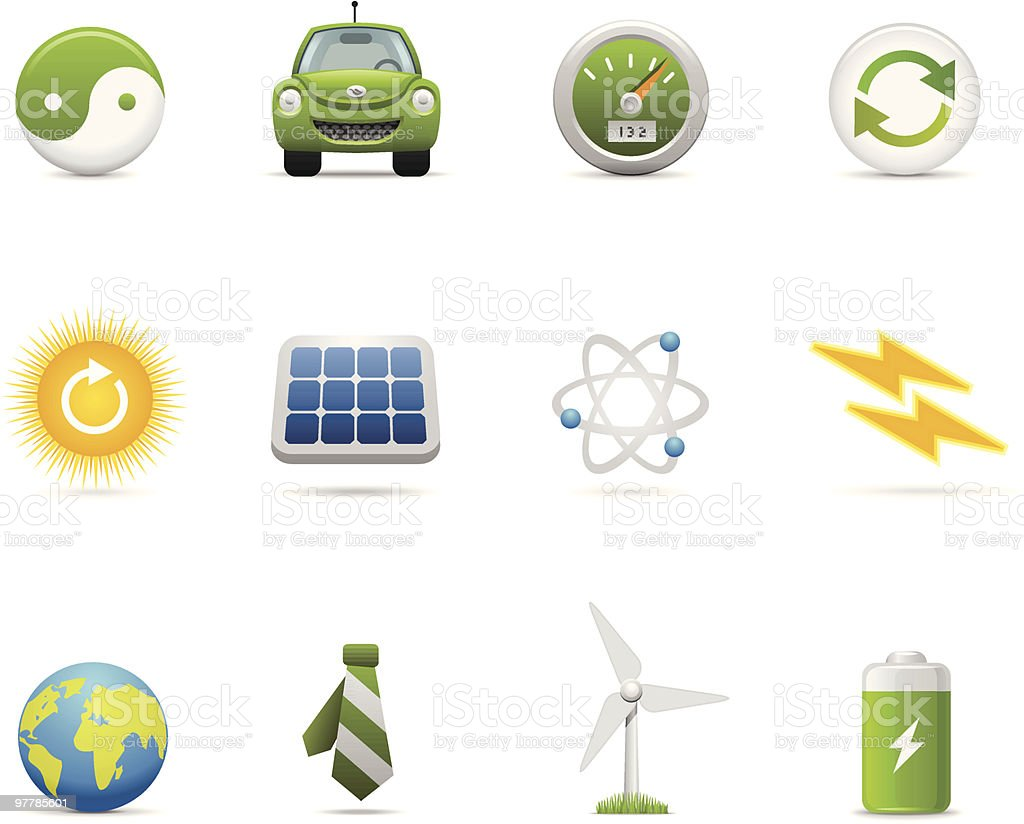 Satin Icons | Green Energy royalty-free stock vector art