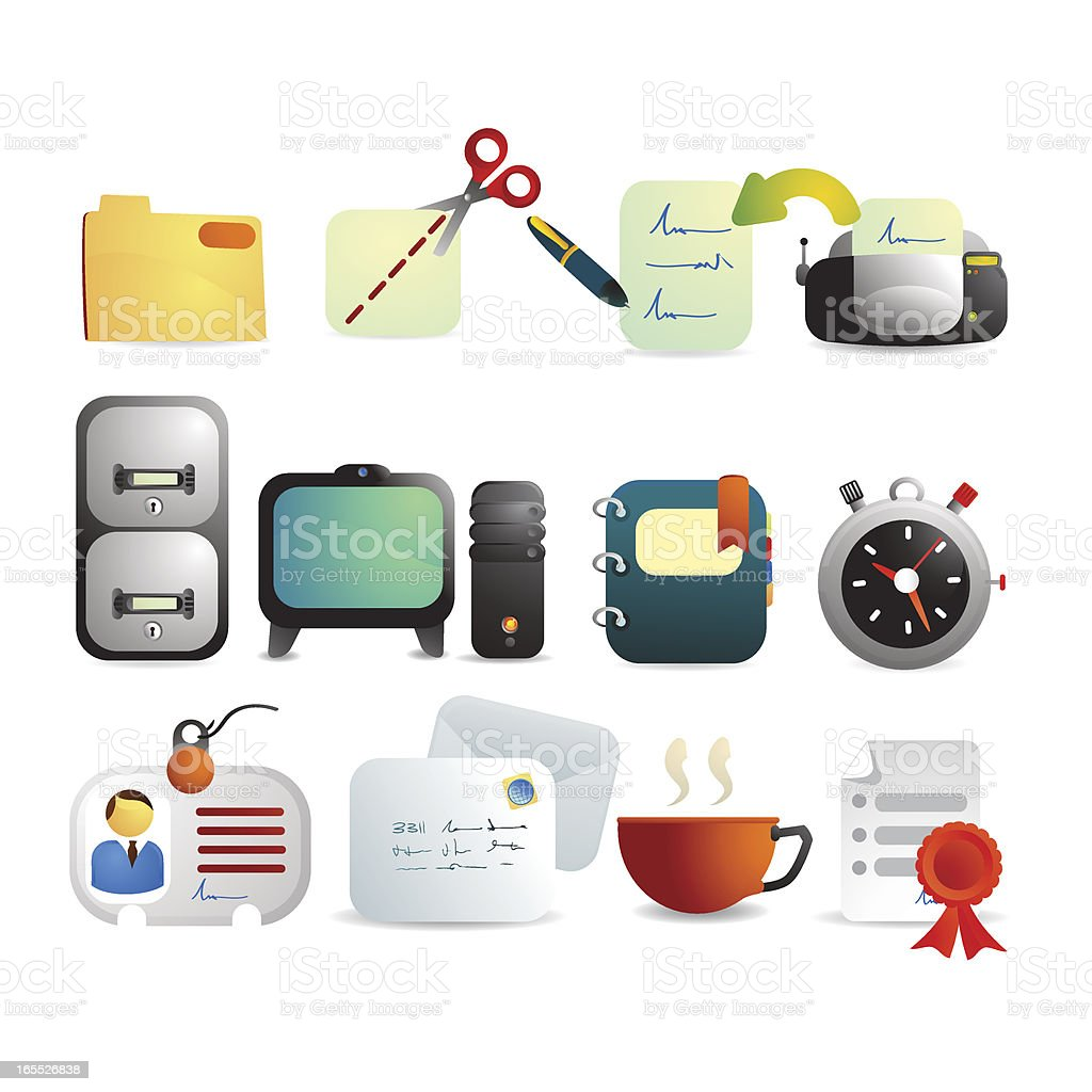 Satin Office and Business Icon Set royalty-free stock vector art