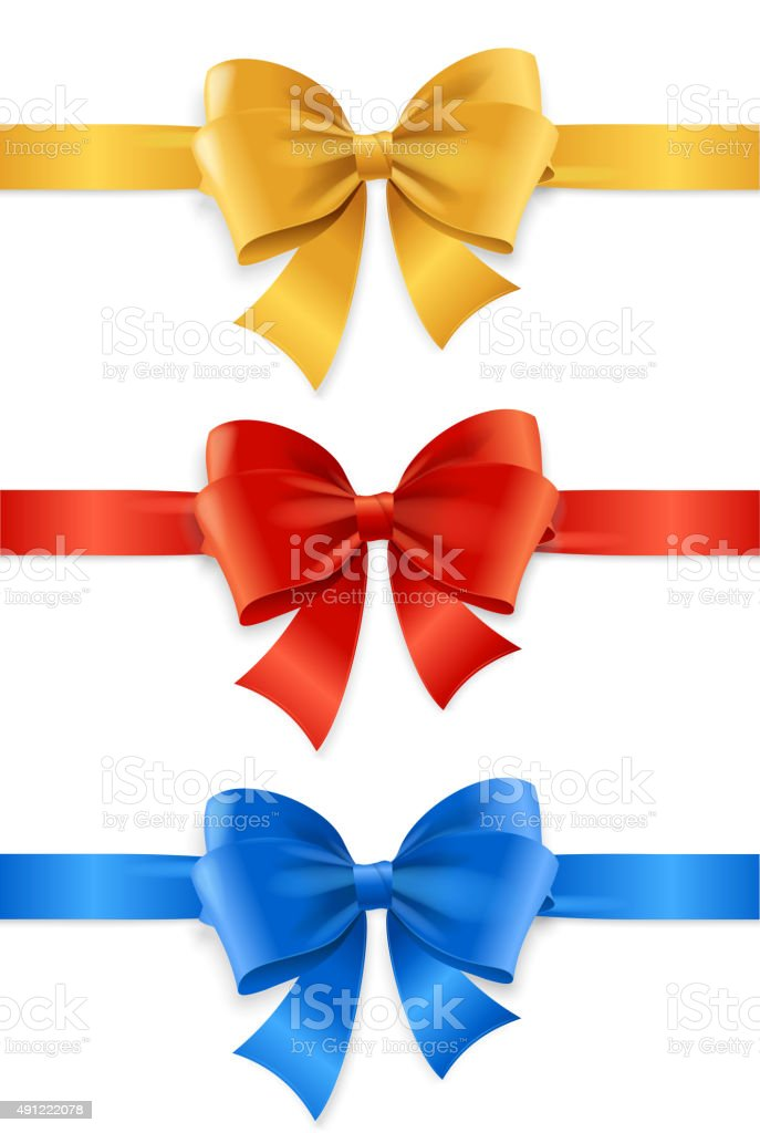 Satin Ribbon Set. Vector vector art illustration