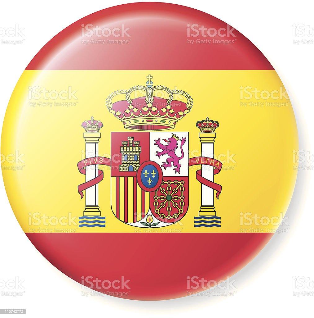 Satin Spanish Flag Button vector art illustration