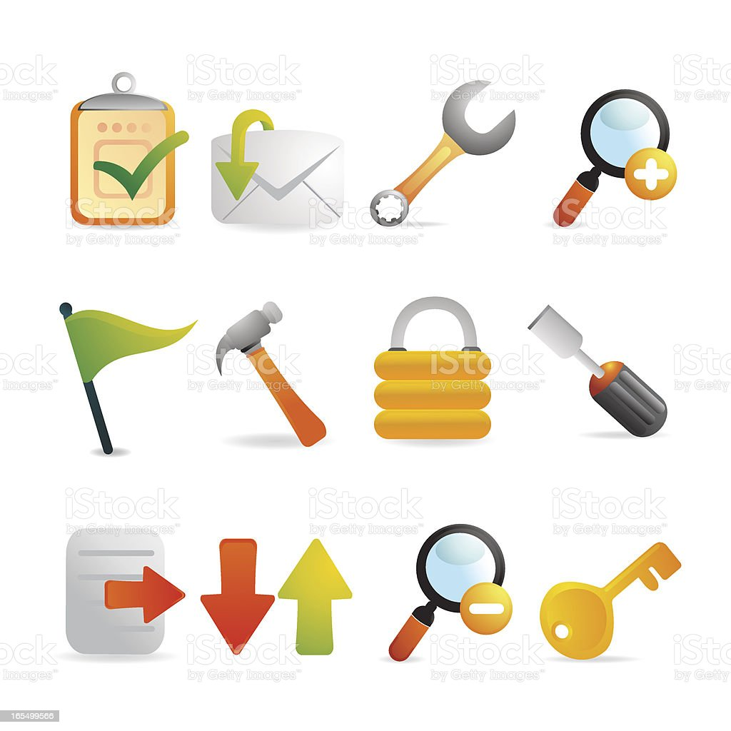 Satin Toolset and Internet Icons royalty-free stock vector art