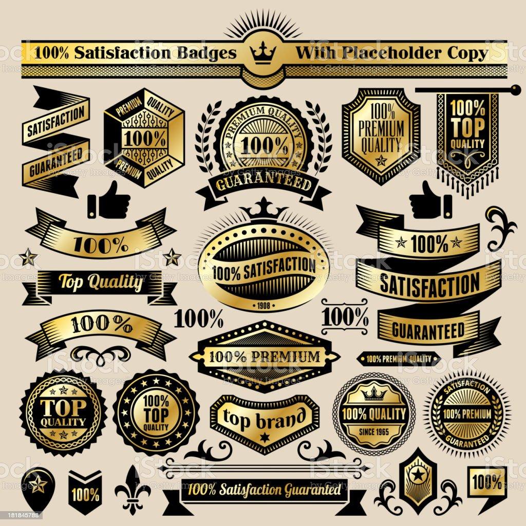 100% Satisfaction Guaranteed Badges Black and Gold Set royalty-free stock vector art