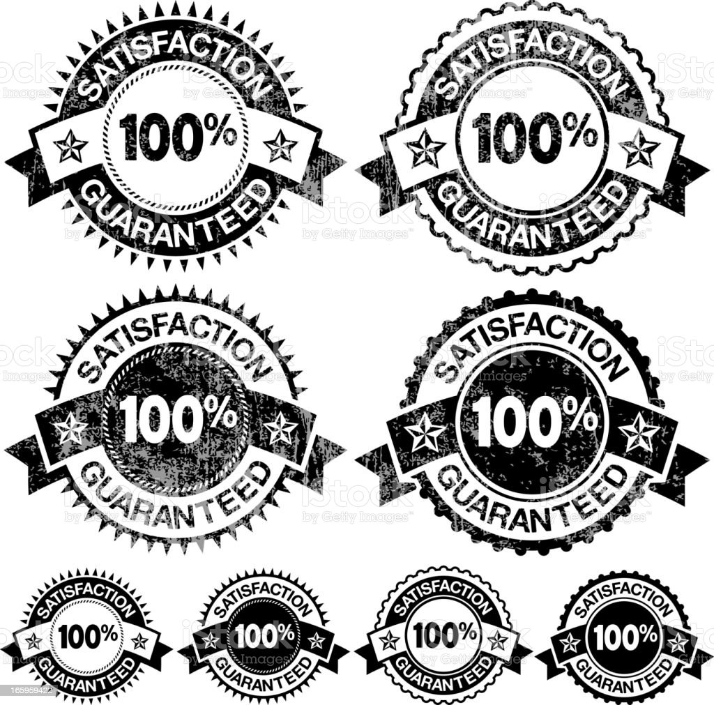 100% Satisfaction Guaranteed Badges black and white vector icon set royalty-free stock vector art
