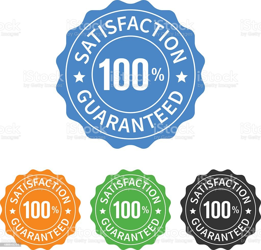 100% satisfaction guaranteed seal or label flat icon vector art illustration