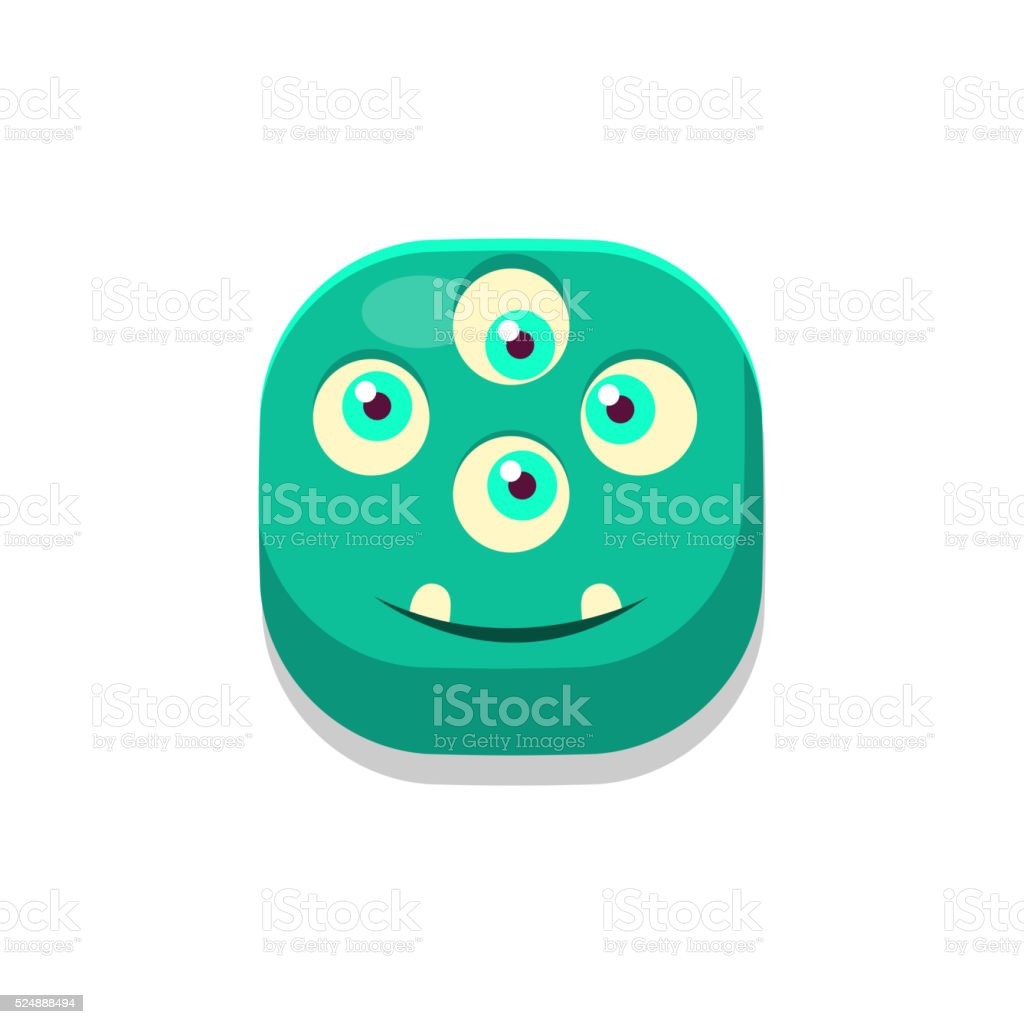 Satisfied Monster Square Icon vector art illustration