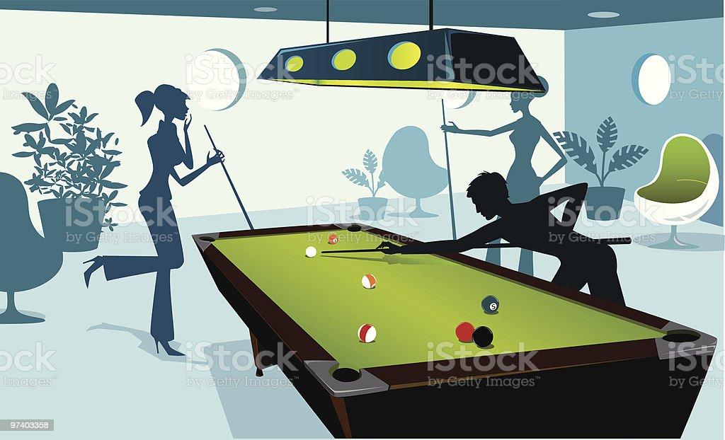 Saturday Night at the Billiard Room royalty-free stock vector art