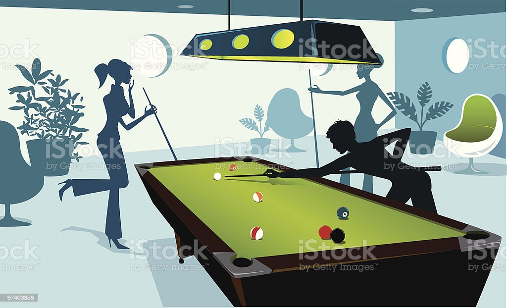 Saturday Night at the Billiard Room vector art illustration