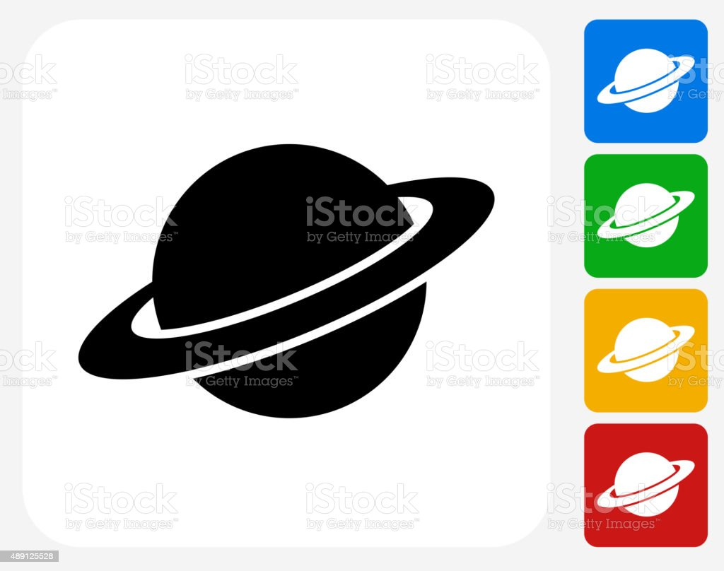 Saturn Icon Flat Graphic Design vector art illustration