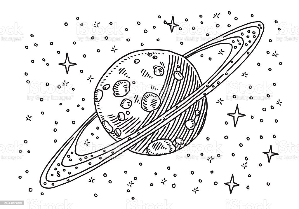 Saturn Planet In Space Drawing vector art illustration