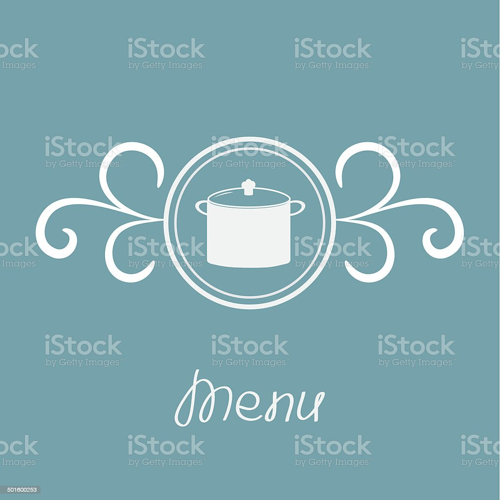 Saucepan and round frame with calligraphic design element. Menu card. royalty-free stock vector art