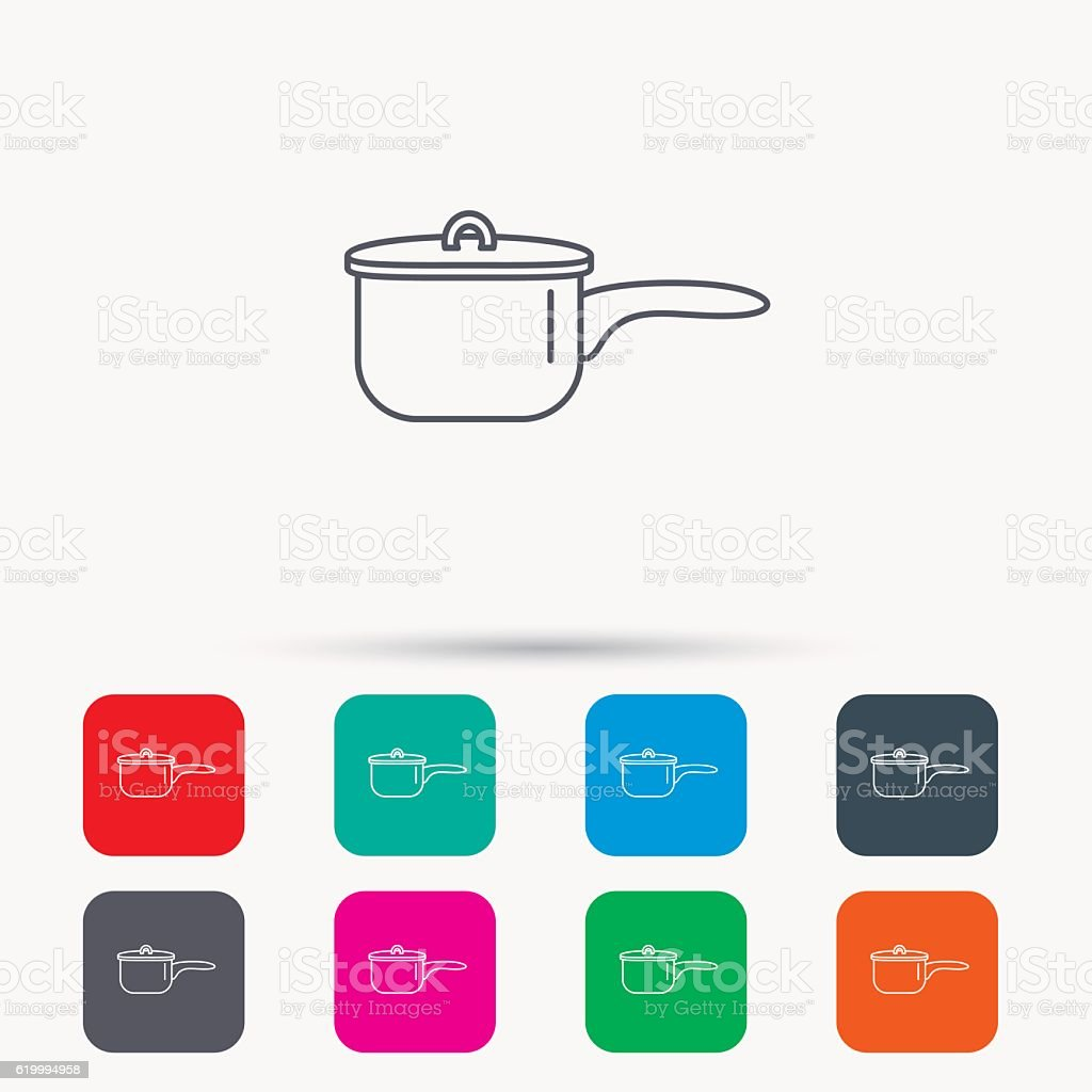 Saucepan icon. Cooking pot or pan sign. vector art illustration