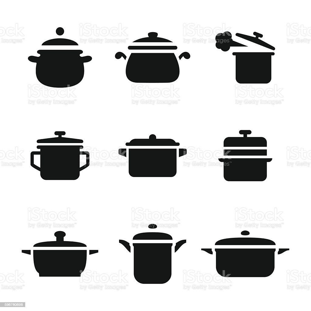 Saucepan vector icons vector art illustration