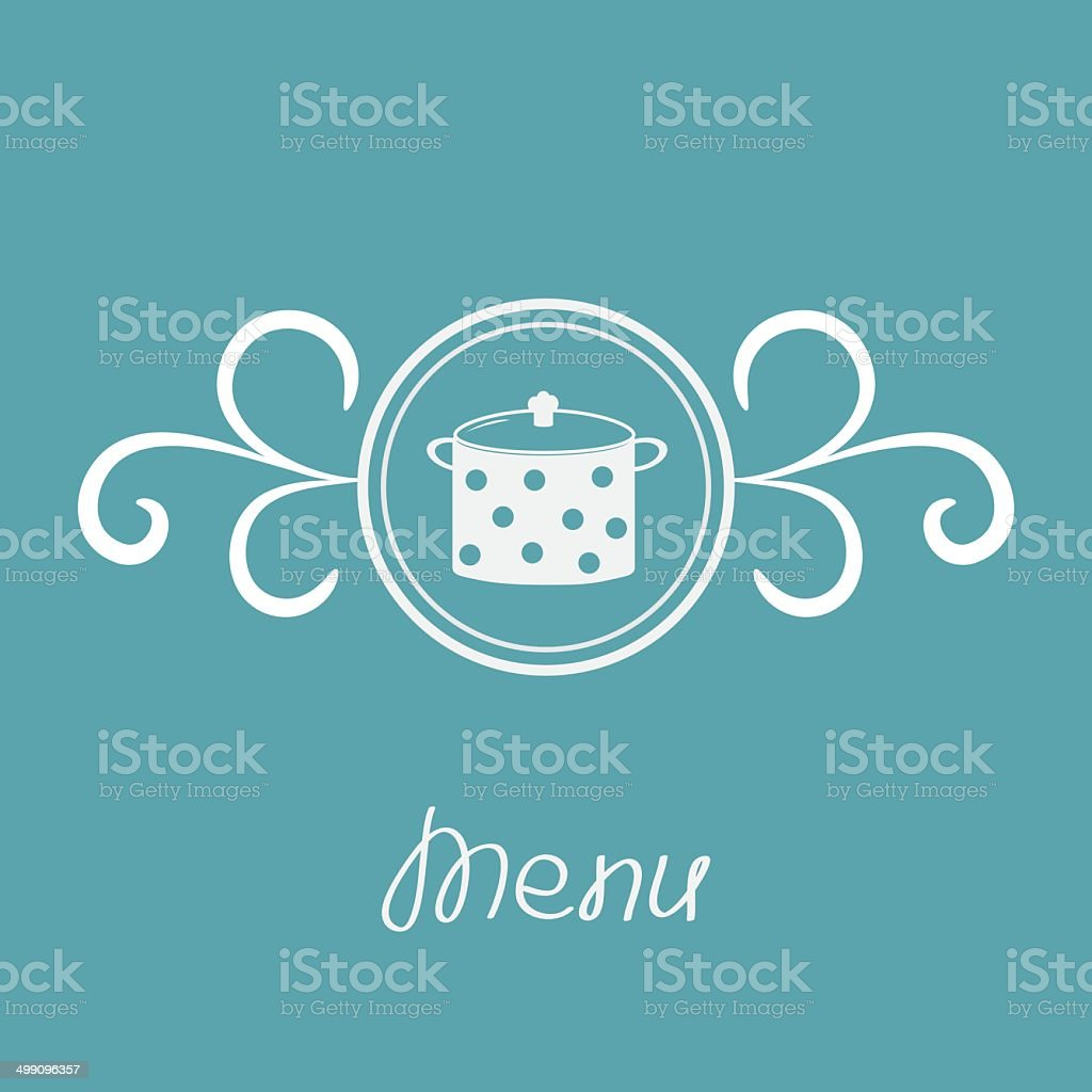 Saucepan with dots and round frame calligraphic design element. royalty-free stock vector art