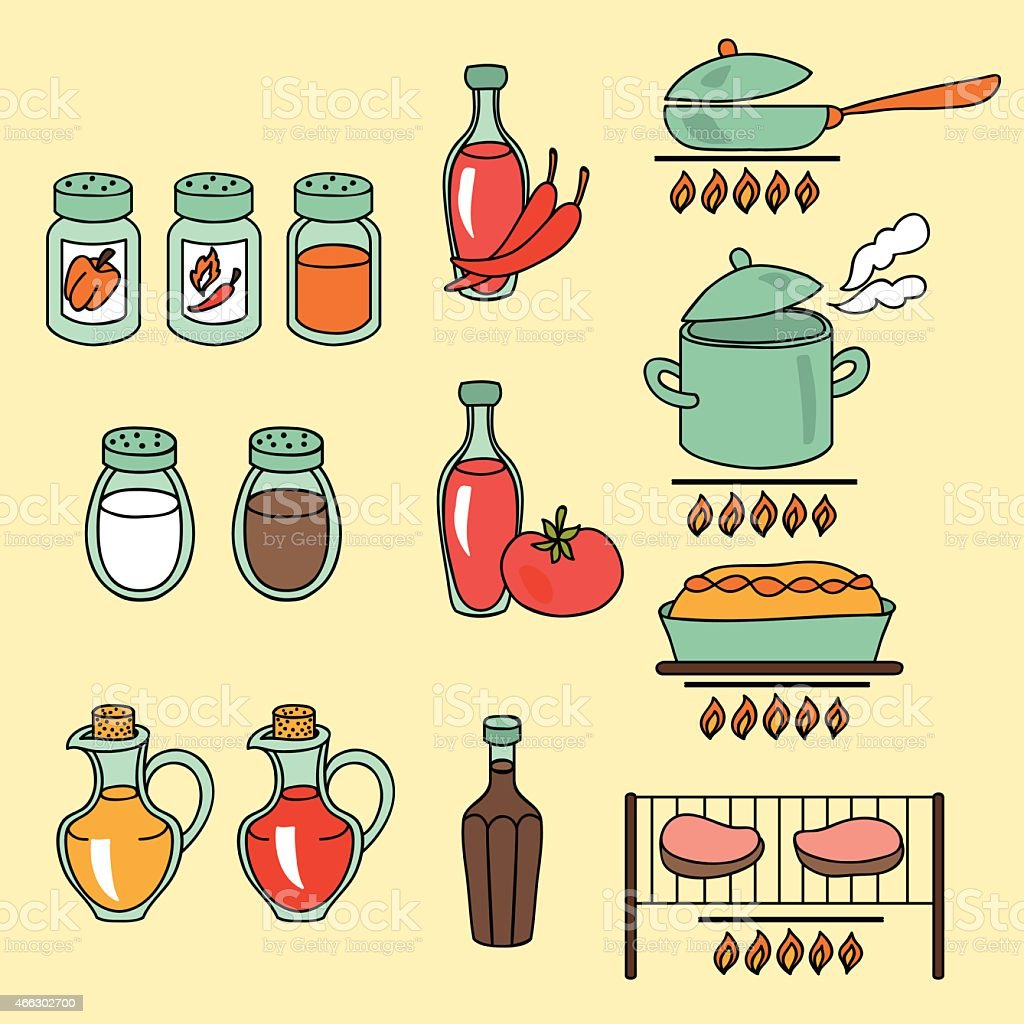 Sauces and spices icon set vector art illustration