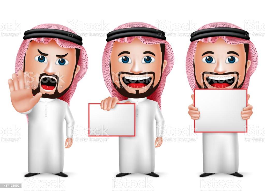 Saudi Arab Man Cartoon Character Holding Blank White Board