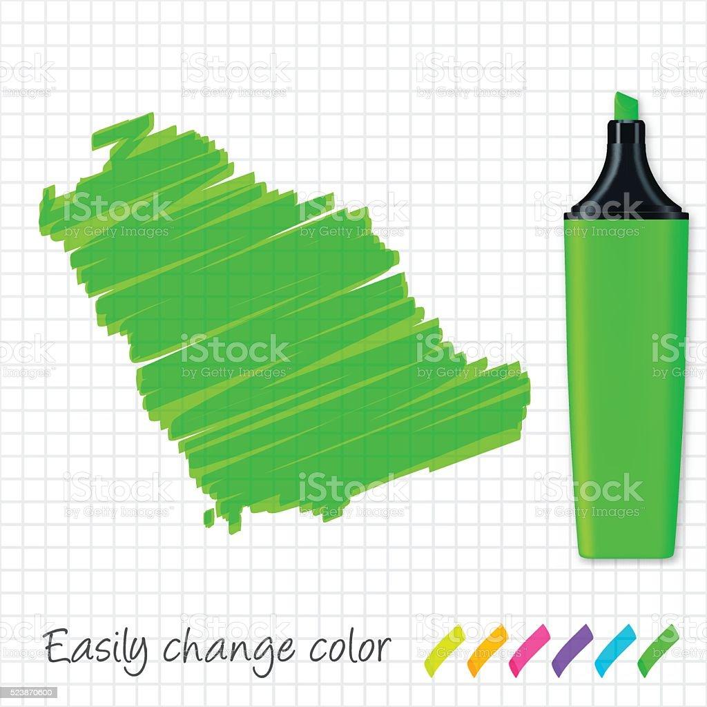 Saudi Arabia map hand drawn on grid paper, green highlighter vector art illustration