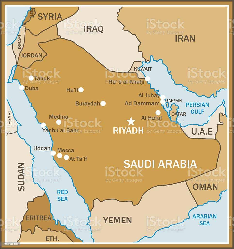 Saudi Arabia Map vector art illustration