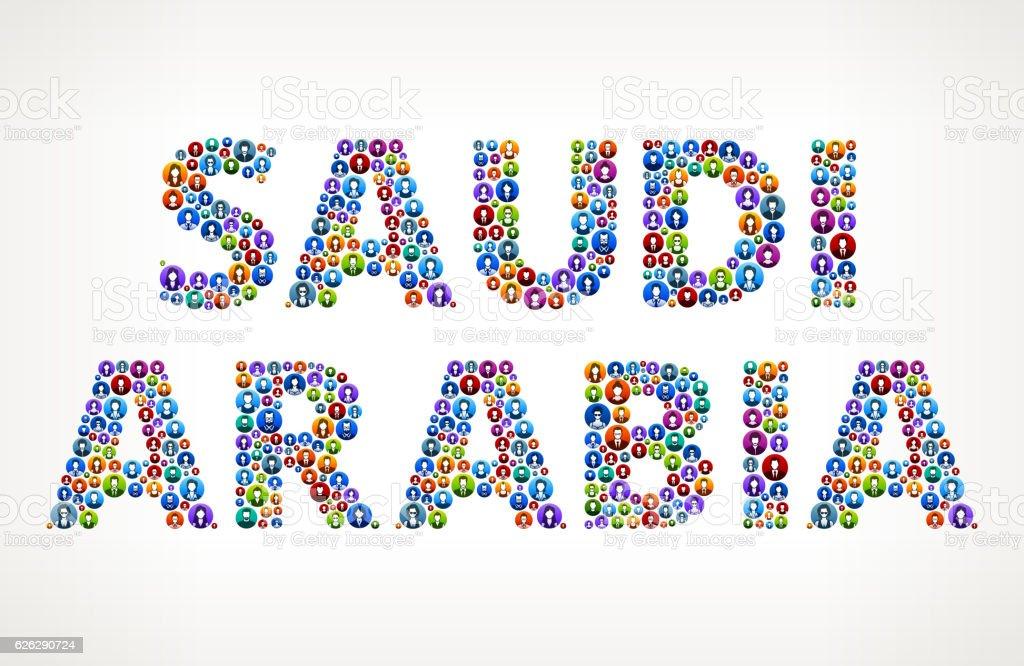 Saudi Arabia People Circle Vector Graphic Illustration vector art illustration