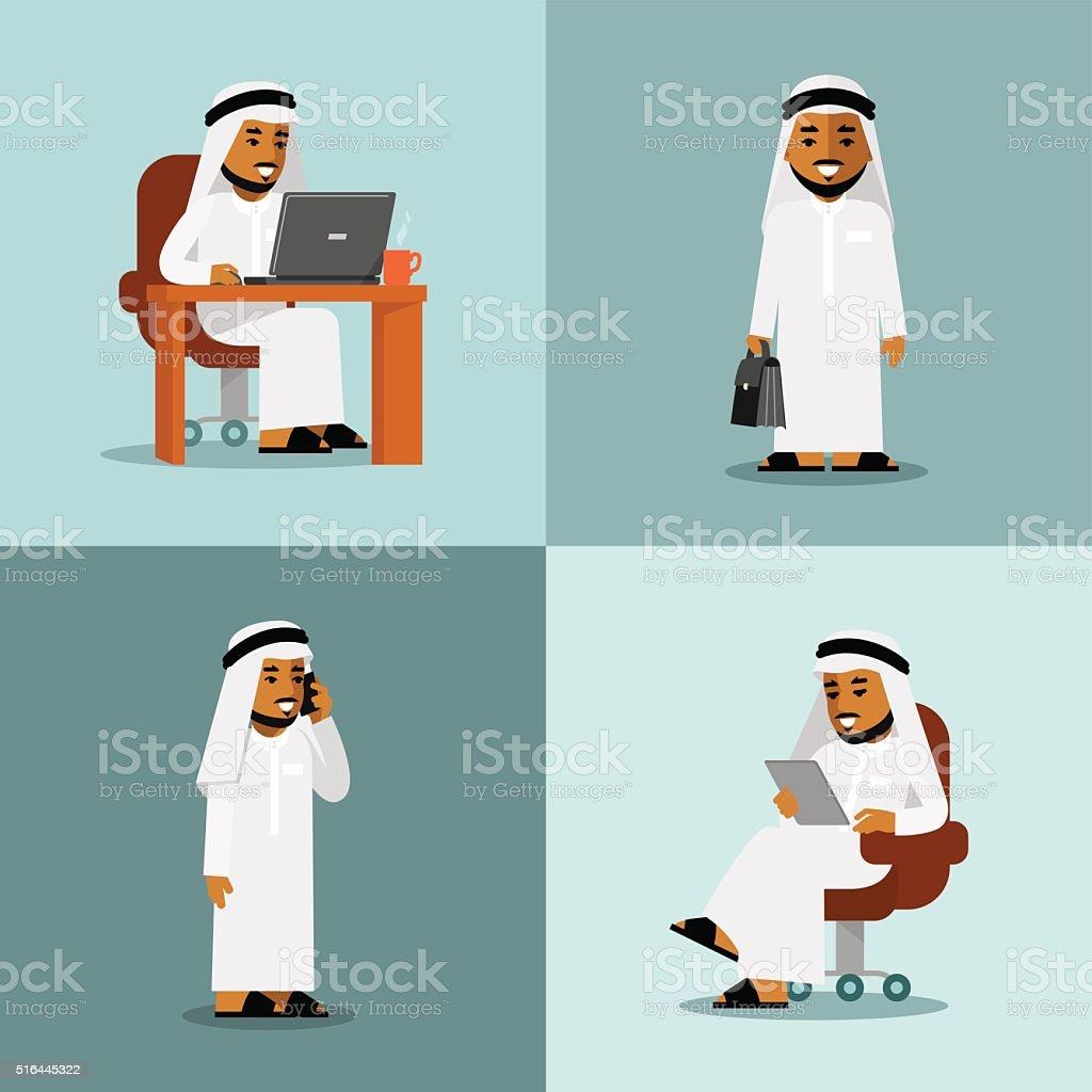 Saudi arabic businessman concept set vector art illustration