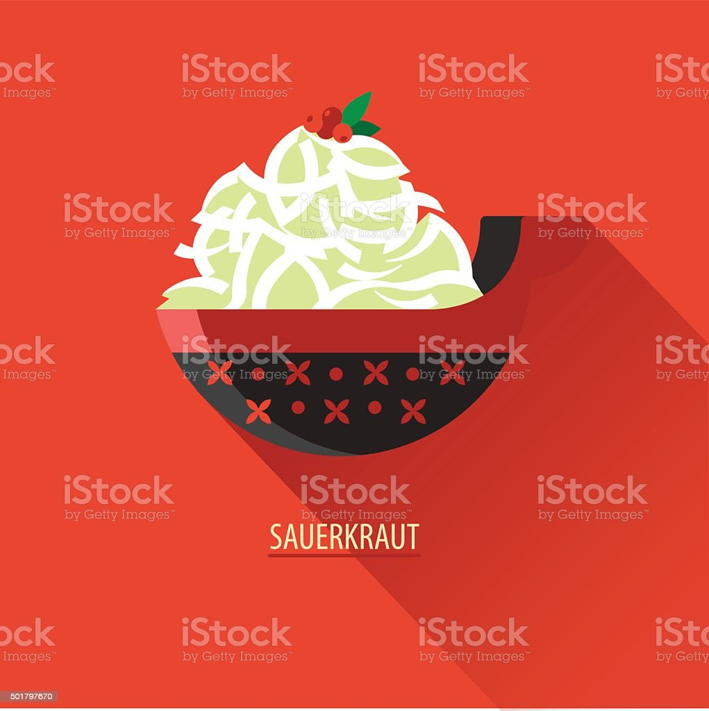 Sauerkraut with cranberries in a painted wooden plate. Icon vector art illustration