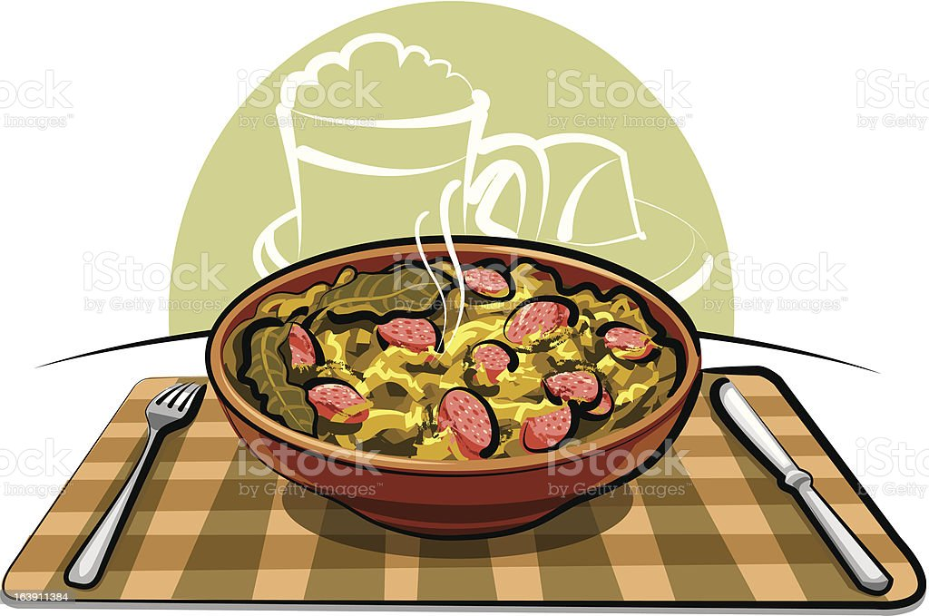 sauerkraut with sausage royalty-free stock vector art