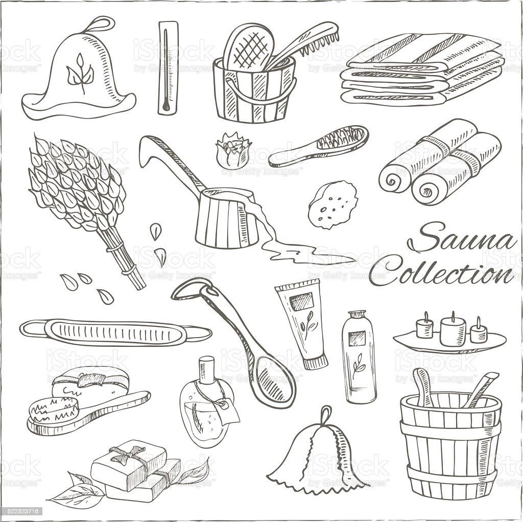 Sauna accessories doodle set. Sketch vector art illustration