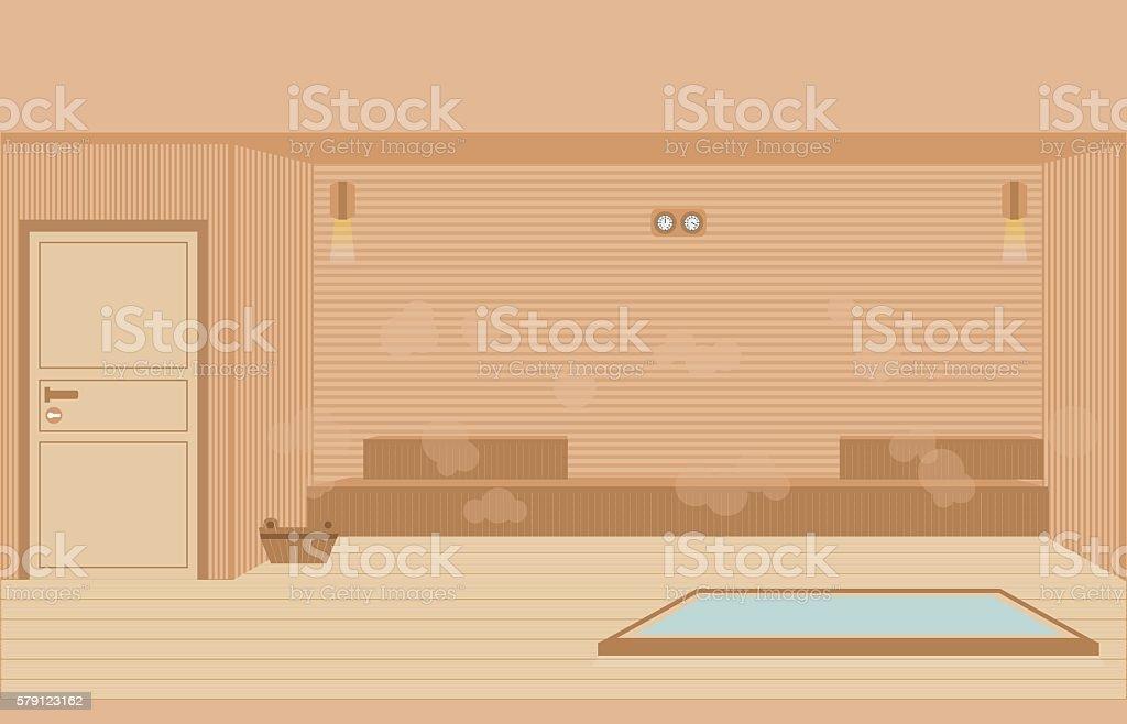 Sauna steam room. vector art illustration
