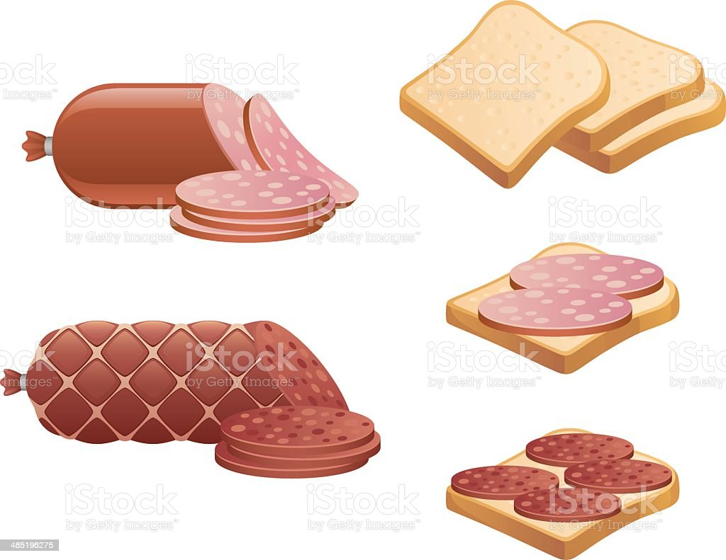Sausage and bread vector art illustration
