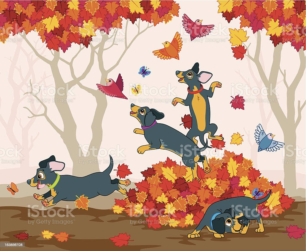 Sausage dogs love autumn royalty-free stock vector art