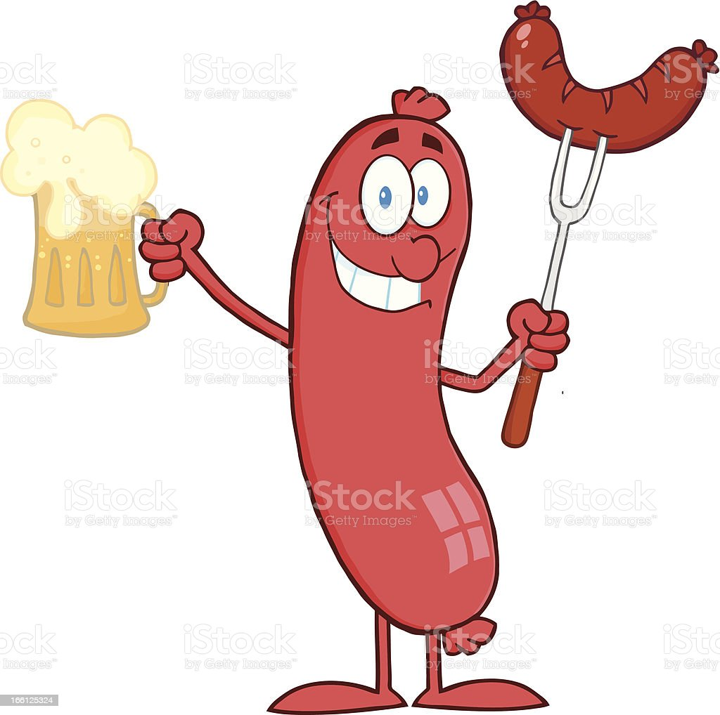 Sausage Holding A Beer and Meat on Fork royalty-free stock vector art